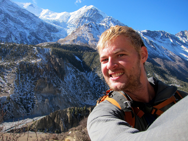 Andrew hiking the Annapurna Circuit in Nepal