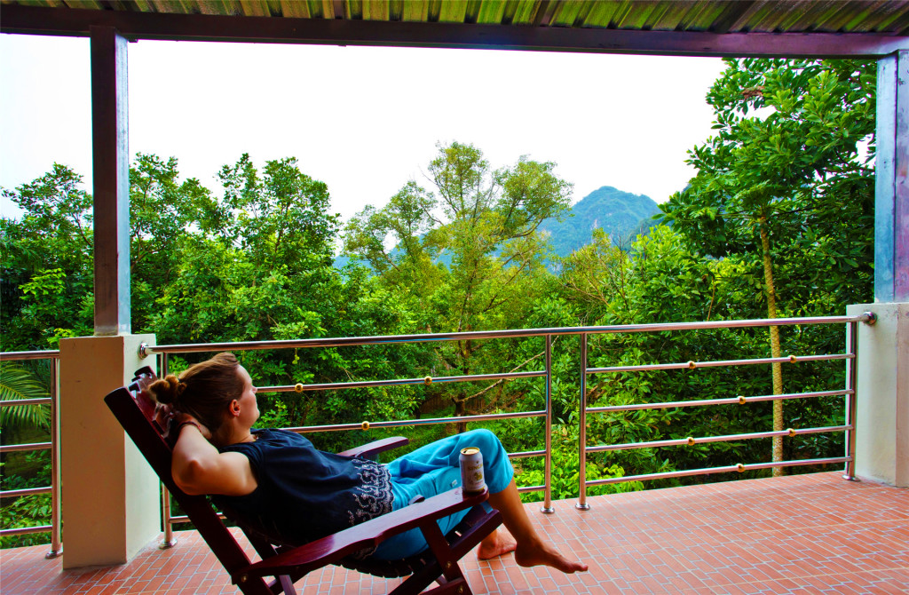 Hostel Balcony overlooking Khao Sok jungle